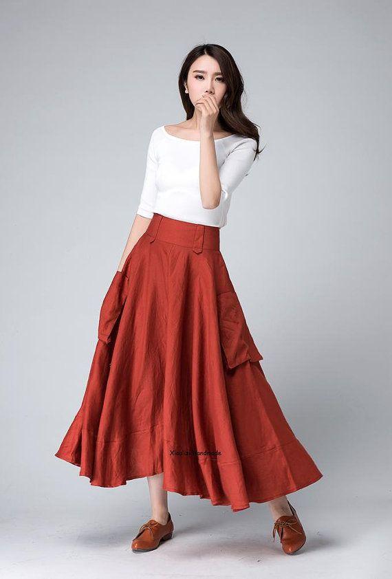 orange skirt maxi skirt high waisted skirt pocket skirt