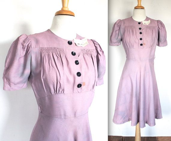 Vintage 1940's Dress // 30s 40s Lilac Purple Petite Party Dress // Wartime Bride // DIVINE