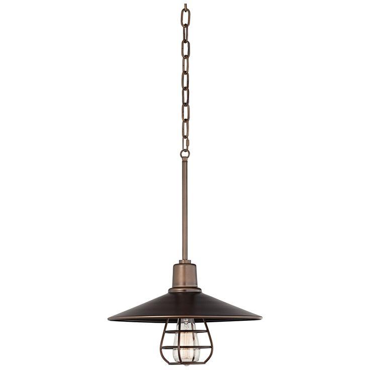 "Garryton Industrial 14"" Wide Oil-Rubbed Bronze Pendant Light - Style # 7Y943"