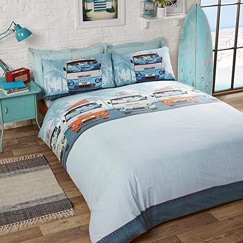 R H Textiles Retro Campervan Single Duvet Quilt Cover Bedding Set