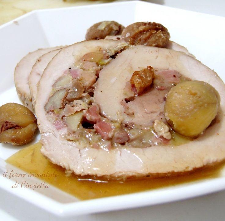 arista di maiale arrosto con castagne e porri x 20 p.