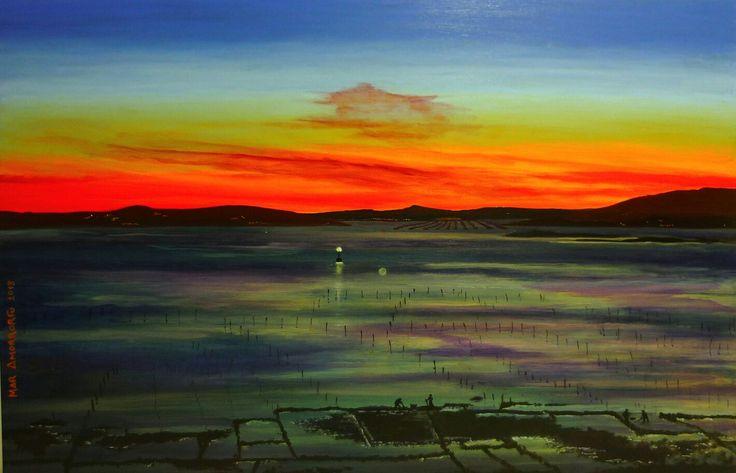 Viveros de Carril en malva. Mar Amorrortu 2012. Óleo sobre tabla 92x60 cms.