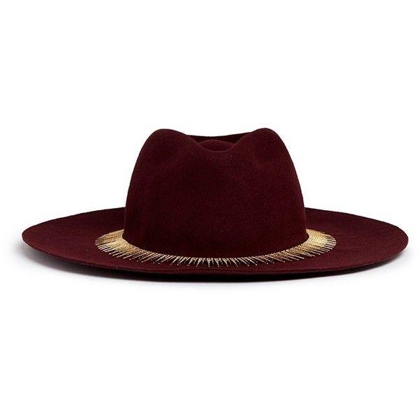 Venna Zircon pavé spike fringe felt fedora hat found on Polyvore featuring accessories, hats, red, brimmed hat, spike hat, venna, red hat and red brim hat