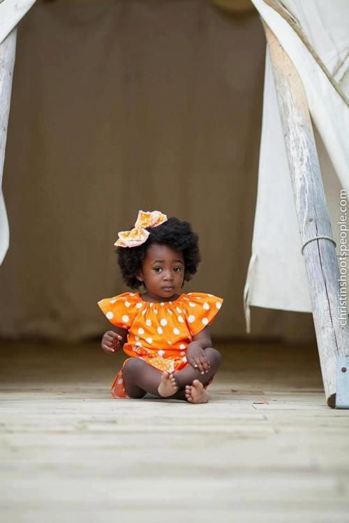 Natural Hair - Cute baby - Orange polka dots