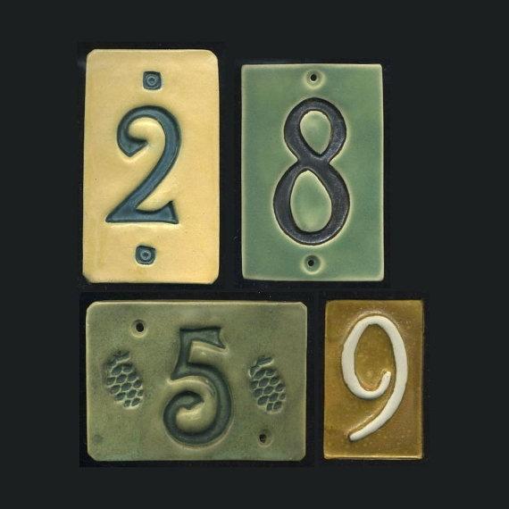 Handcrafted Single Digit Ceramic House Number Tile Address