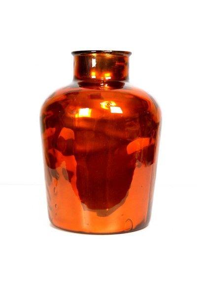 Jarrón moderno, material usado cristal de color naranja.  Decora el mueble auxiliar, mesa de centro, entrada, recibidor... Envío gratis en 24h.