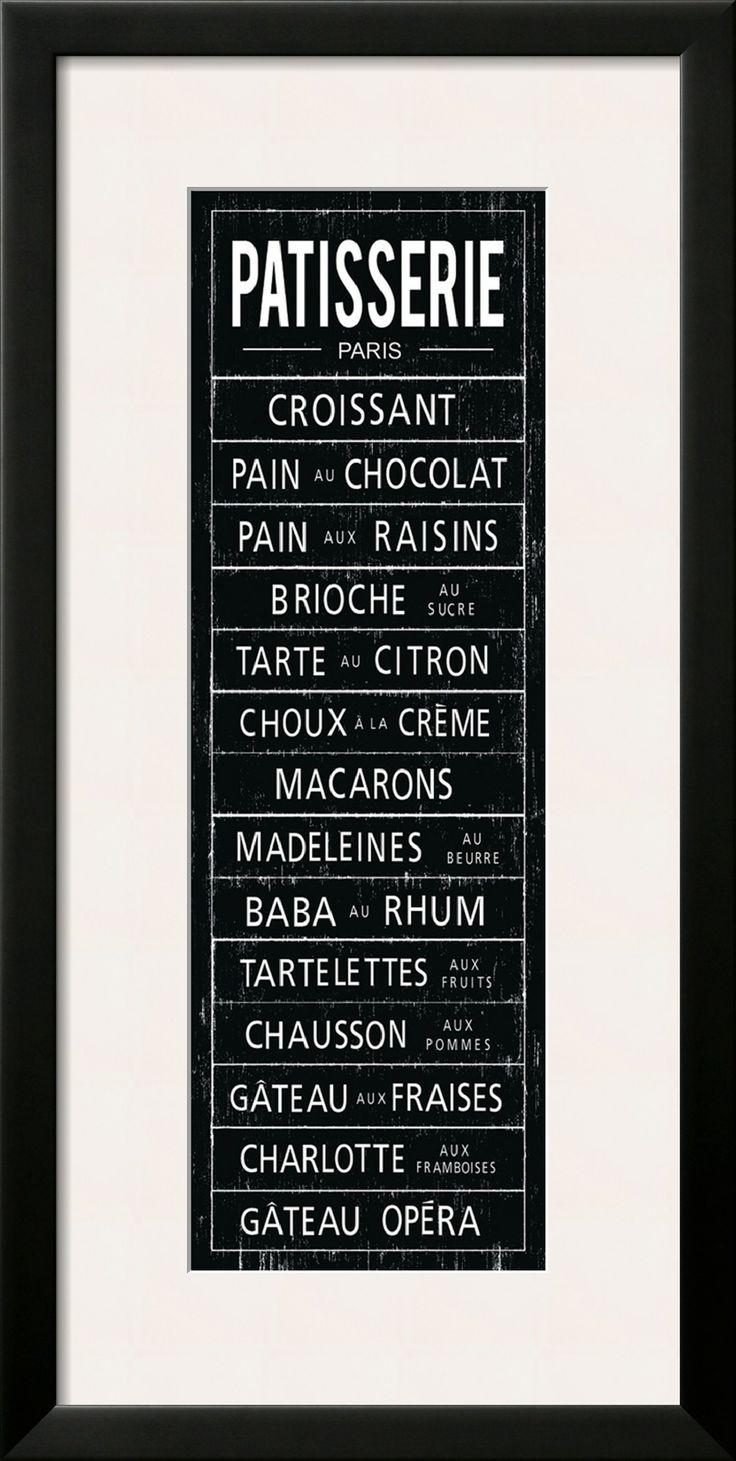 Framed Patisserie Menu Print.