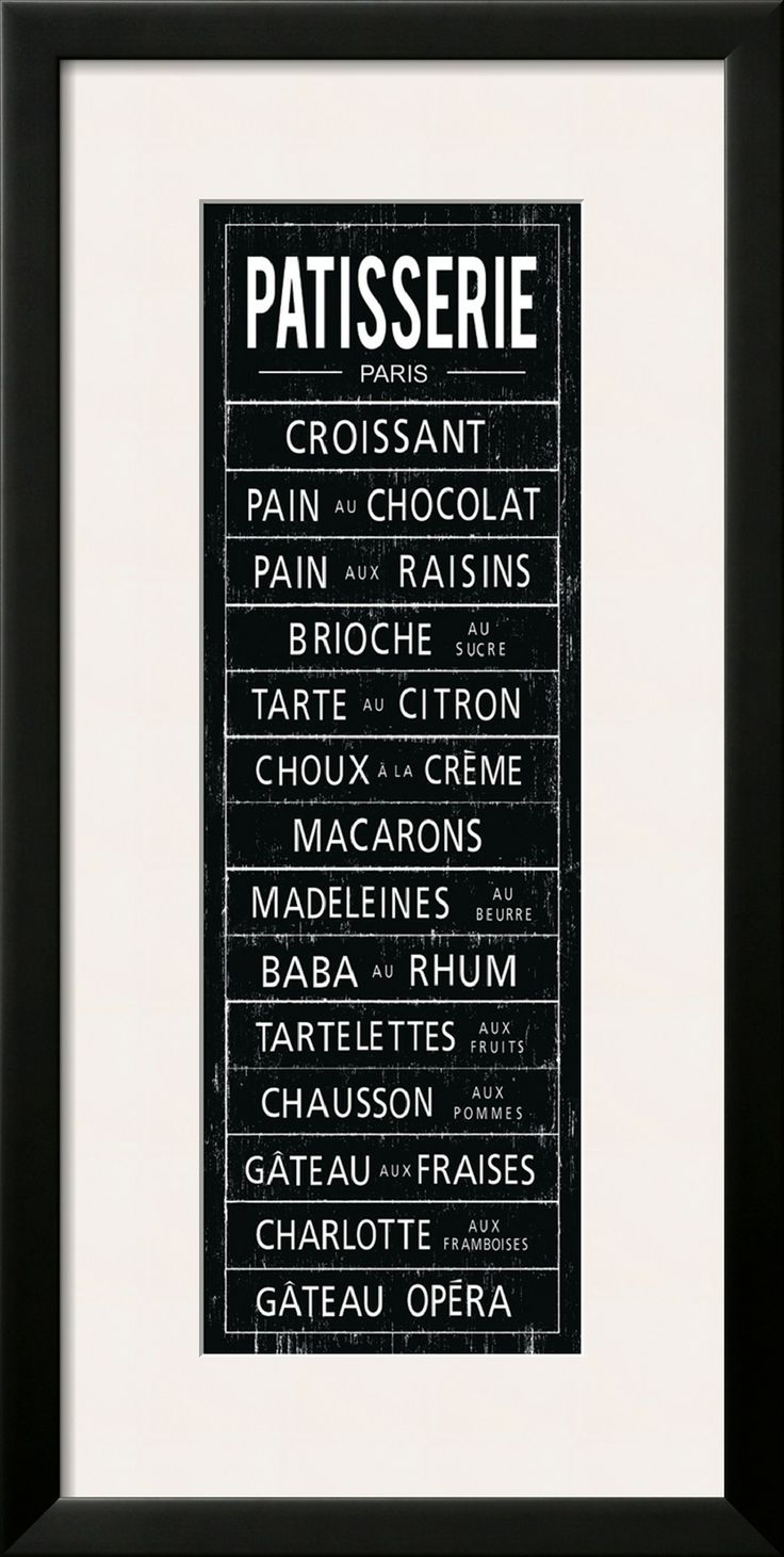 Framed Patisserie Menu Print.