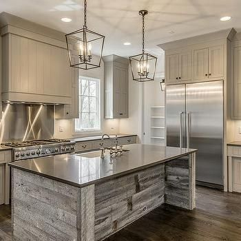 Reclaimed Barn Wood Kitchen Island with Gray Quartz Countertop