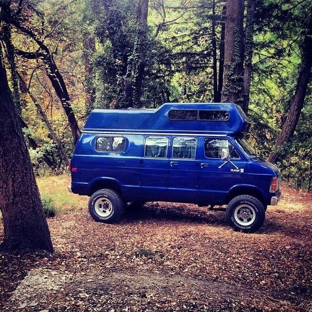 Dodge Ram old-school custom camper van #groverblue