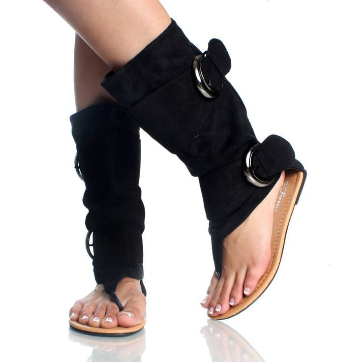 Black Suede Buckle Slouch Boot Open Toe Flat Dress Sandal Womens ...