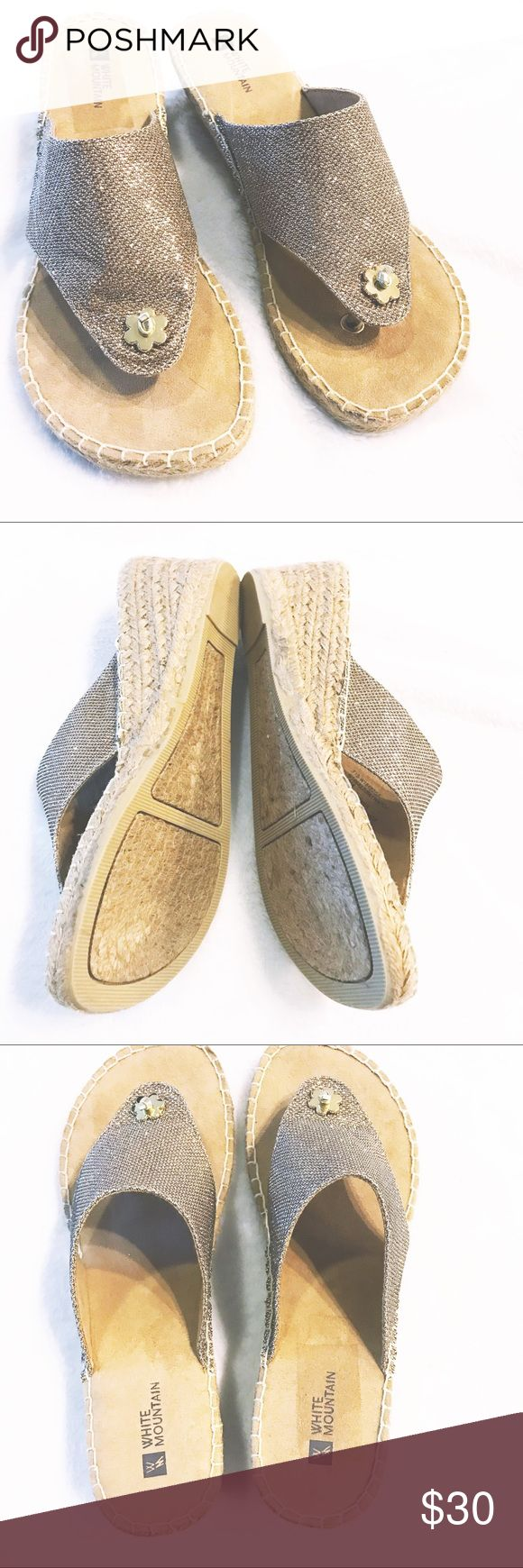 Tan/gold sandals great for summer with cute dress Wear the beach ball espadrille thong with all your summer attire. The rope wrapped wedge is 2 1/2 inches high and has lots of padding to keep you comfy. Choose denim or sparkle fabrics.  🌊 white mountain Shoes Sandals