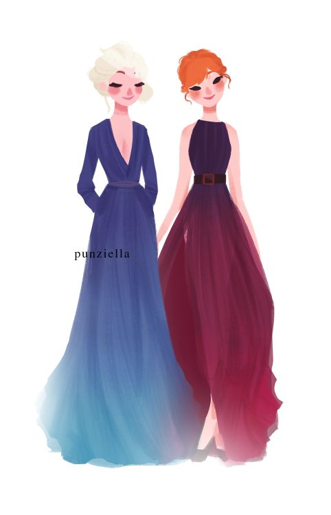Elsa and Anna by punziella - most of the time I don't like it when someone changes them, but this one is beautiful