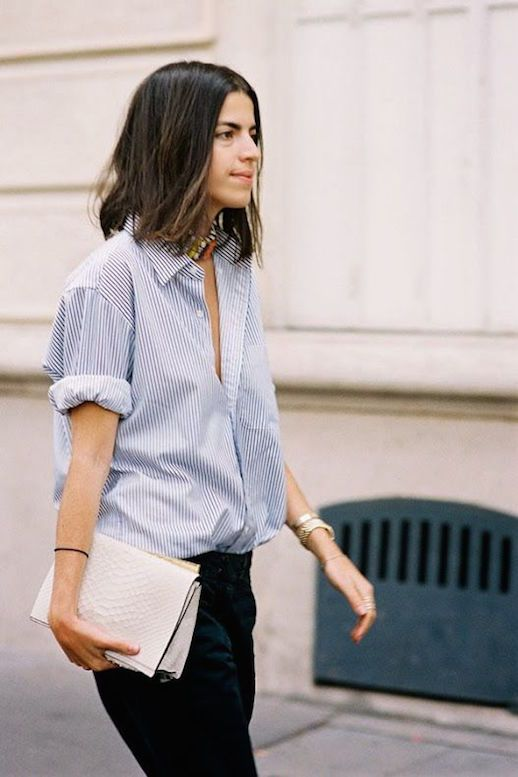 Le Fashion Blog 25 Ways To Wear A Striped Button Down Shirt Rolled Sleeves Leandra Medine Via Vanessa Jackman Python Clutch Street Blogger Style