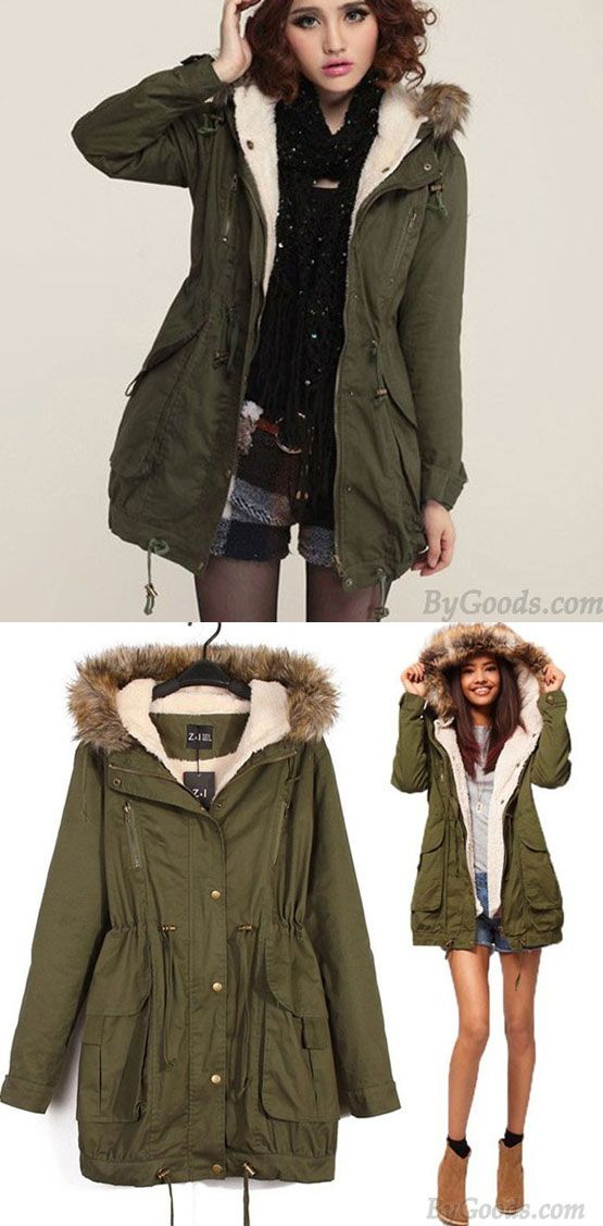 Casual Hooded Drawstring Long Fur Coats for big sale! #coat #fur #long #casual #women #jacket