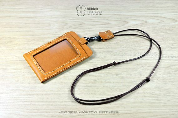 Are you still using plastic ID Pass? Get this beautiful leather ID pass holder now!  Blending minimalism styling with efficient design, features 2 card-slot pockets, front side for your ID card and back side for your Access Control Card. Attached on your personal adjustable length lanyard. You will be most stylish in the office.  Made from Natural cow leather, burnished, stitched and waxed by hand.   ---------------------Detail-----------------------   Dimension: 7.5(w) x10.5(h) x0.8(d) cm…