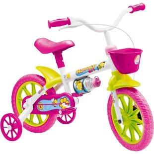"""Bicicleta Infantil Nathor Aro 12"""" Honey 8, possui a nova roda aro 12, que proporciona um pedalar mais seguro, confortável e com mais equilíbrio. Tudo isso pensando no bem estar dos pequenos. Além disso, possui design moderno, com garrafinha, pneu em EVA, quadro em aço, guidão com PAD, placa frontal e cores alegres. Tudo o que a criança precisa para se divertir com segurança e conforto."""