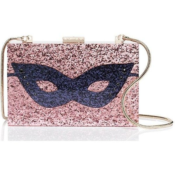 Kate Spade Dress The Part Glitter Mask Clutch featuring polyvore, women's fashion, bags, handbags, clutches, kate spade clutches, kate spade purses, embellished handbags, glitter purse and glitter clutches