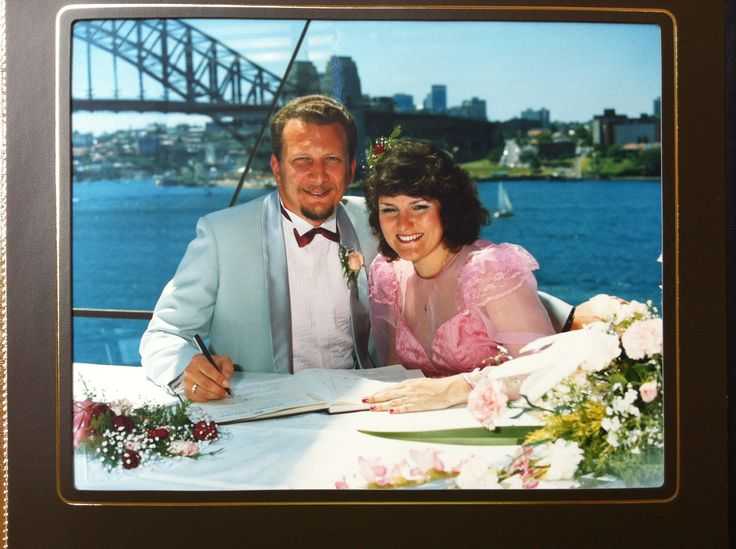 Our beautiful wedding in the Northern Foyer of the Sydney Opera House 13 December 1987. Niyd the Sydney Harbour Bridge in the background.