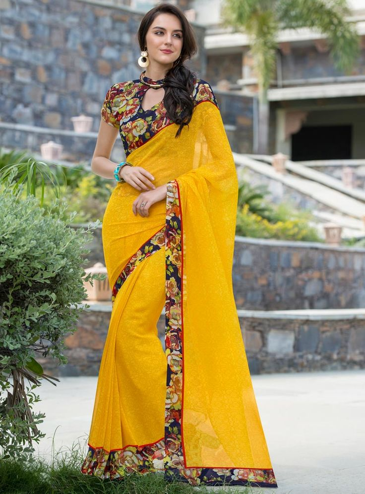 Yellow Georgette Printed Saree With Blouse 80554