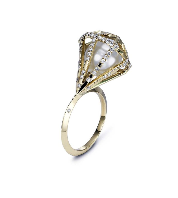 Melanie Georgacopoulos Couture Diamond ring in yellow gold, set with a 11mm white South Sea pearl and diamonds.