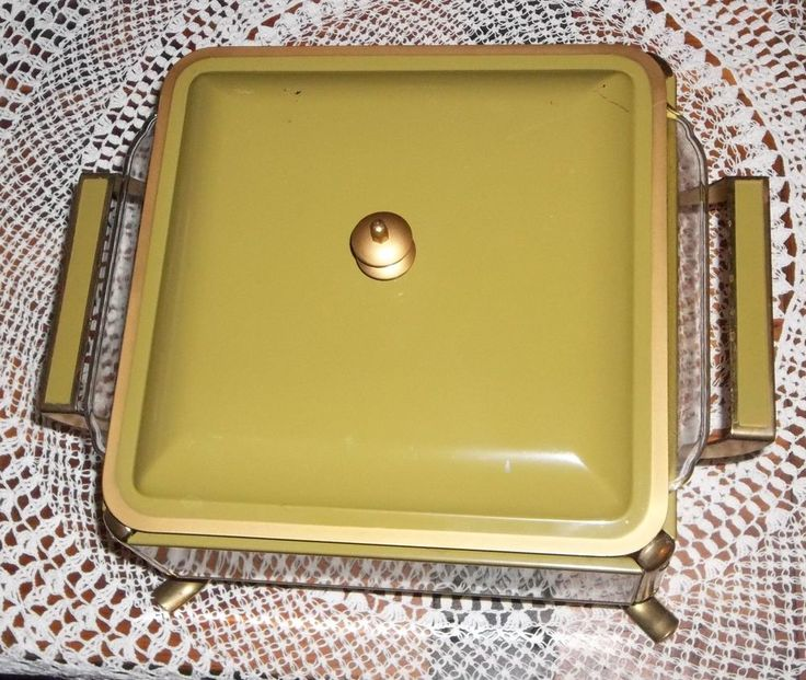 Pyrex Chafing Dish Anchor Hocking Fire King Casserole AVACADO GREEN midcentury