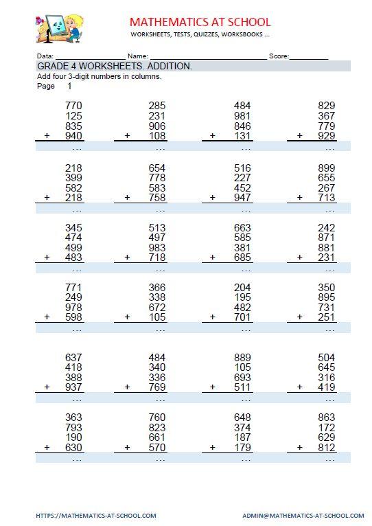 Großartig Grad 4 Mathematik Arbeitsblätter Pdf Zeitgenössisch ...