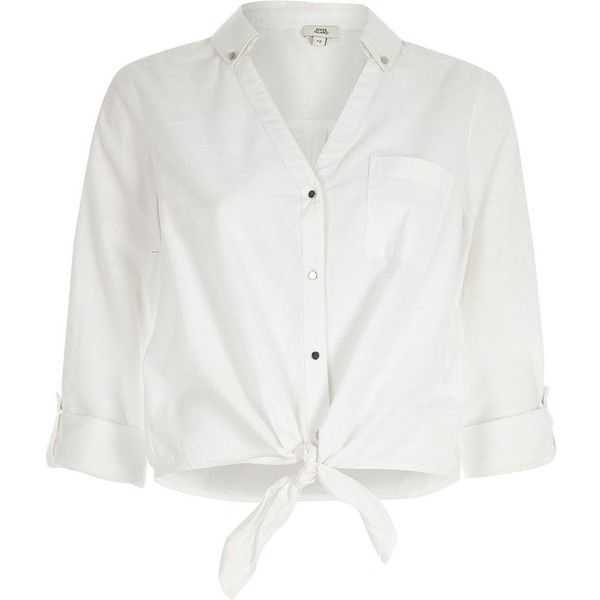 River Island White tie knot front shirt ($50) ❤ liked on Polyvore featuring tops, white, women, white shirts, knot front top, shirt top, long length shirts and button front top