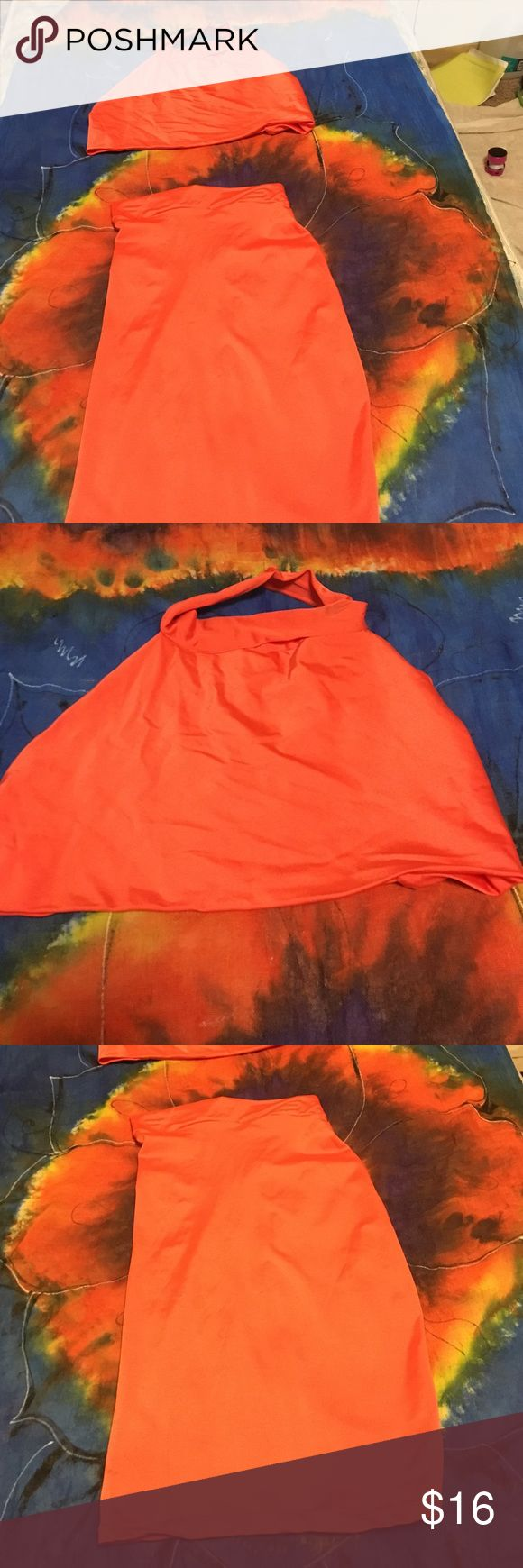 Two piece suite Orange two piece! $16 for both or $10 each Tops Crop Tops