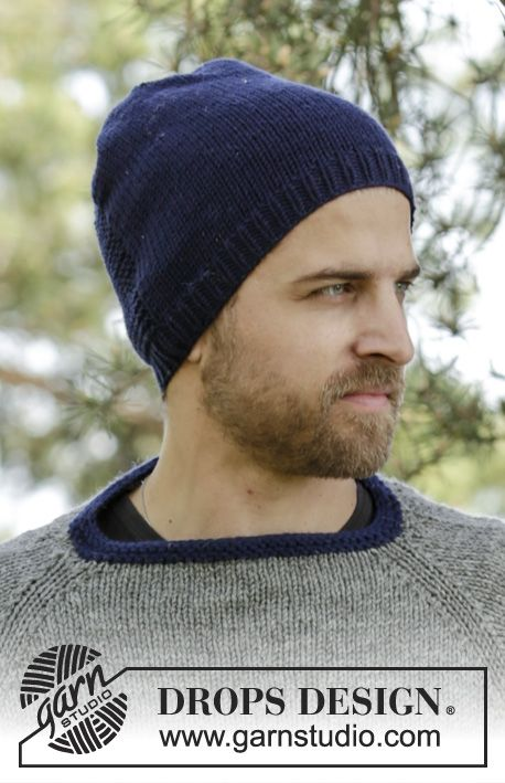 Knitted DROPS men's hat in stocking st and detail in ridges in Big Merino. Free pattern by DROPS Design.