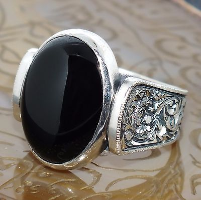 925 Sterling Silver mens ring with Black Onyx handcrafted unique jewelry
