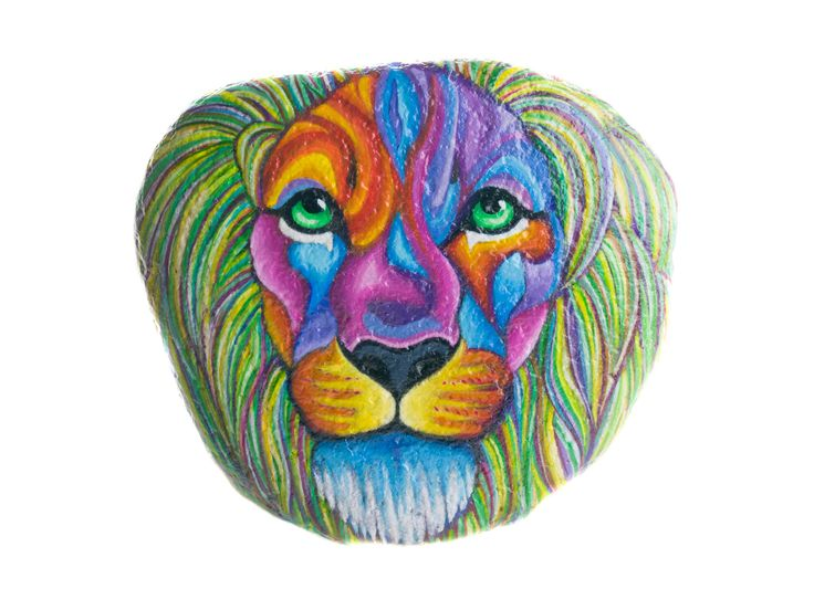 Sasso dipinto a mano da appendere con un leone di Bidigo su Etsy