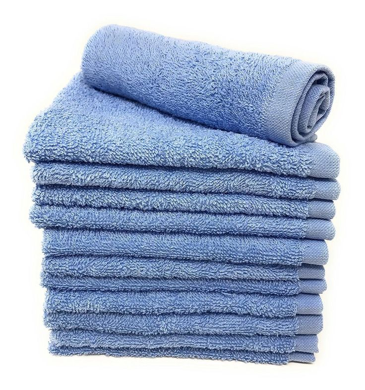 12 Piece Light Blue Cotton Washcloths Bathroom Hand Towels Free Shipping