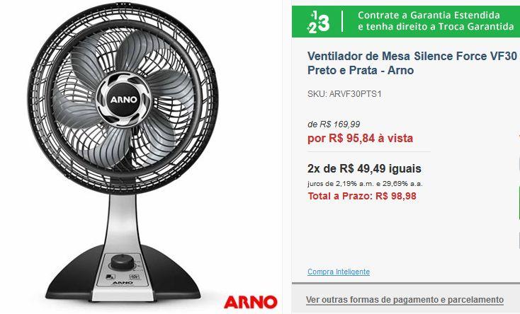 Ventilador de Mesa Arno Silence Force VF30 com 03 Velocidades Preto e Prata << R$ 9584 >>
