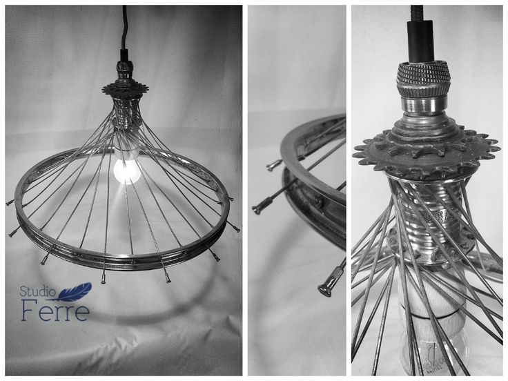 Bicycle wheel lamp (with red cord) © Studio Ferre: recycle, reuse, repurpose www.facebook.com/studioferre