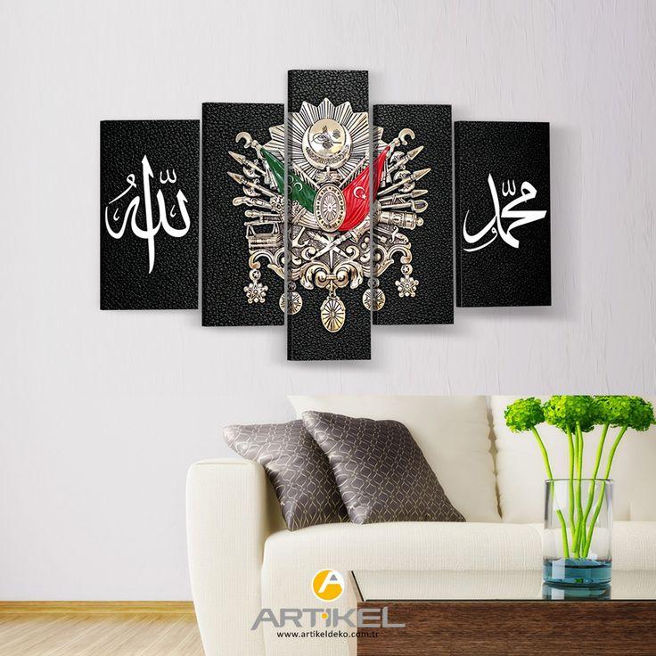 """Yeni kanvas tablo modelimiz """"Osmanlı Tuğrası"""" 5 Parça stoklarımızda! #yeni #kanvastablo #art #artikeldeko #dekorasyon"""