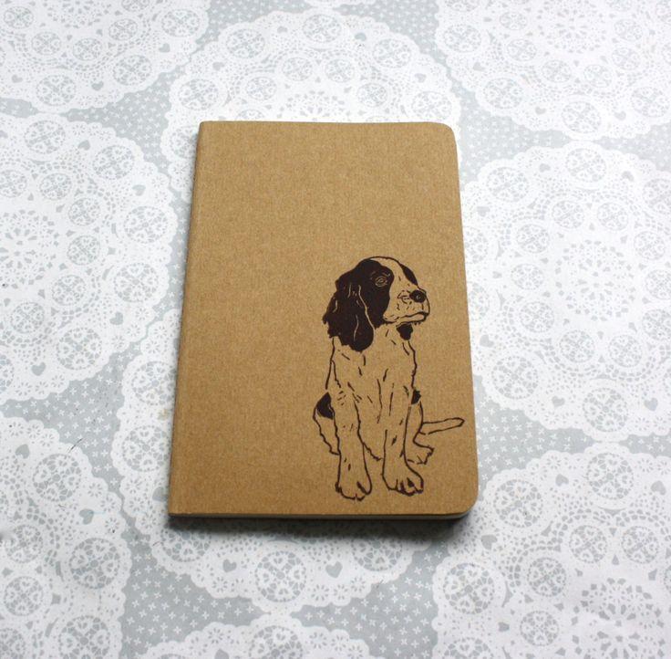 Springer spaniel print nota boek   Afdrukken van de hond   Animal print   Moleskine   Cahier Journal   Lino afdrukken   Handgemaakte   Grootte van de zak  