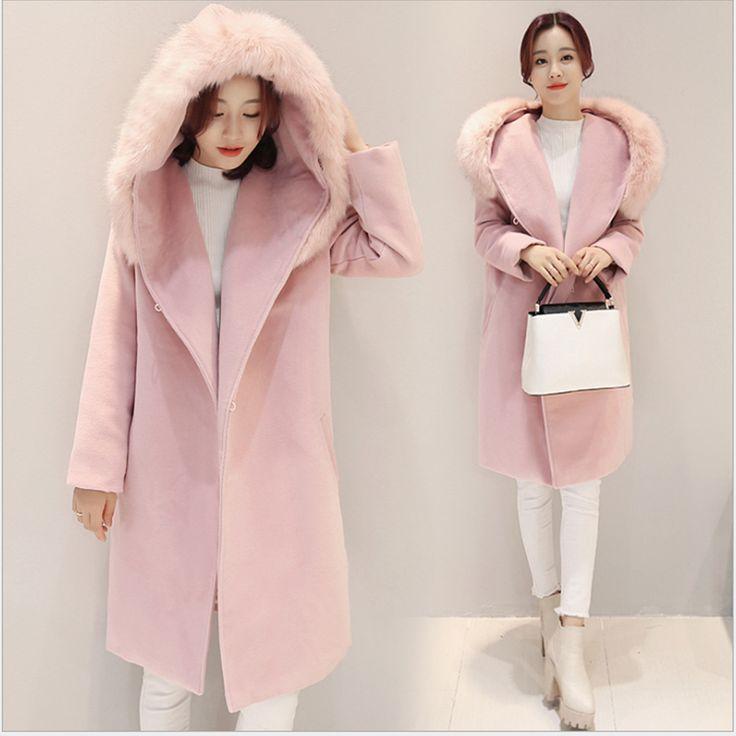 WANT ¬ MANTEAU COULEUR PASTEL | Hooded Faux Bontkraag Lange Winter Roze Jas Vrouwen jassen En Jassen Elegante Dames Jas Woolrich Parka Vrouw Jas 2016(China (Mainland))