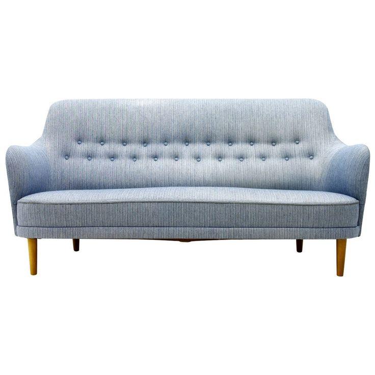Carl Malmsten Sofa With Light Blue Fabric, Sweden, 1940s