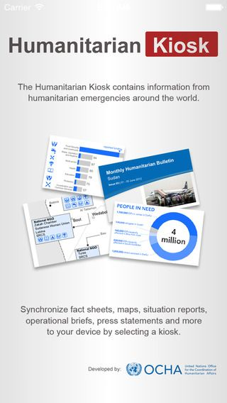 The Humanitarian Kiosk App https://itunes.apple.com/us/app/humanitarian-kiosk/id546482411 It provides a range of up-to-the-minute humanitarian related information from emergencies around the world https://www.humanitarianresponse.info/applications/kiosk