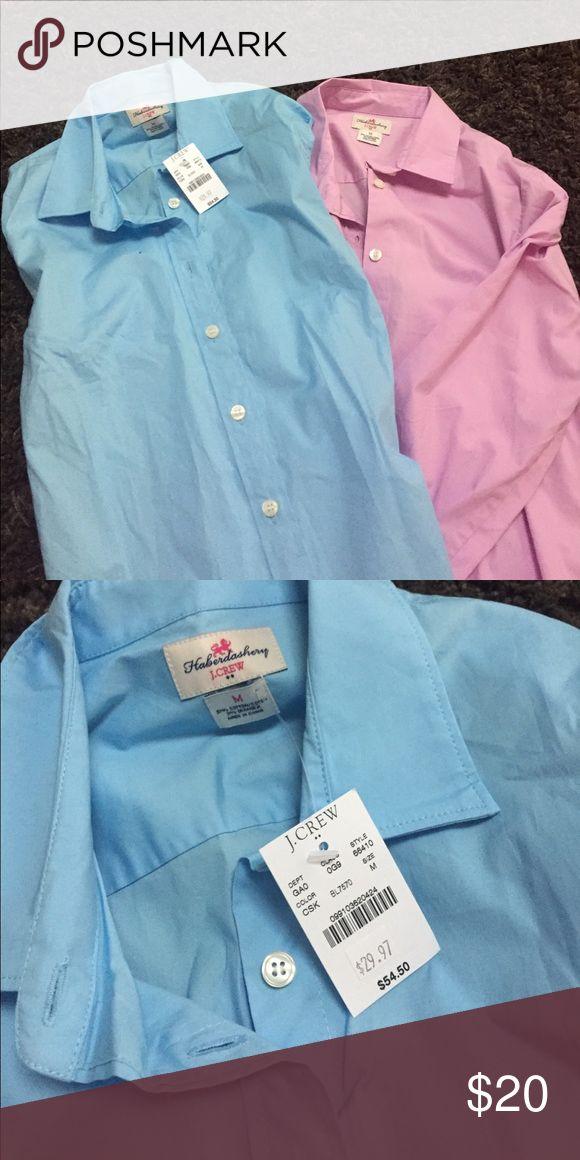 J. Crew Fact. long sleeve collared dress shirts. Pink and blue dress shirts. Pink worn twice, blue brand new. J. Crew Tops Button Down Shirts