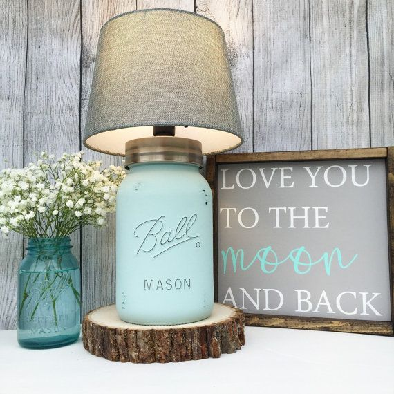 Hand Painted Gallon Mason Jar Lamp Seafoam by MidnightOwlCandleCo