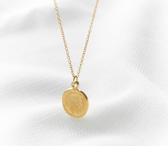 Disc necklace  Gold coin necklace Coin jewelry by HLcollection