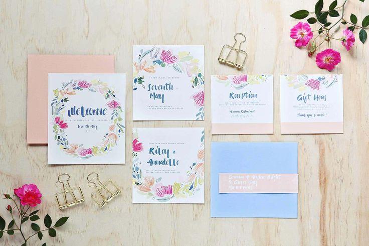 Violet Wonder - Hand painted wedding invites