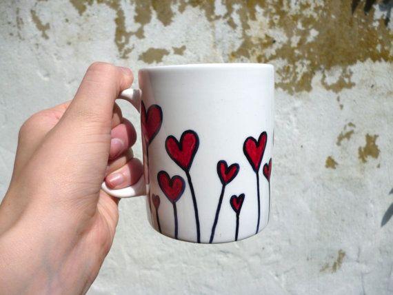 Field of hearts mug; hand drawn mugs by BubbleandMimi.