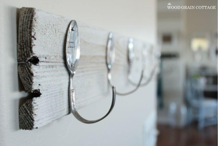 Leuk voor de theedoeken in de keuken! Lepel-haakjes! #DIY #WeightWatchers