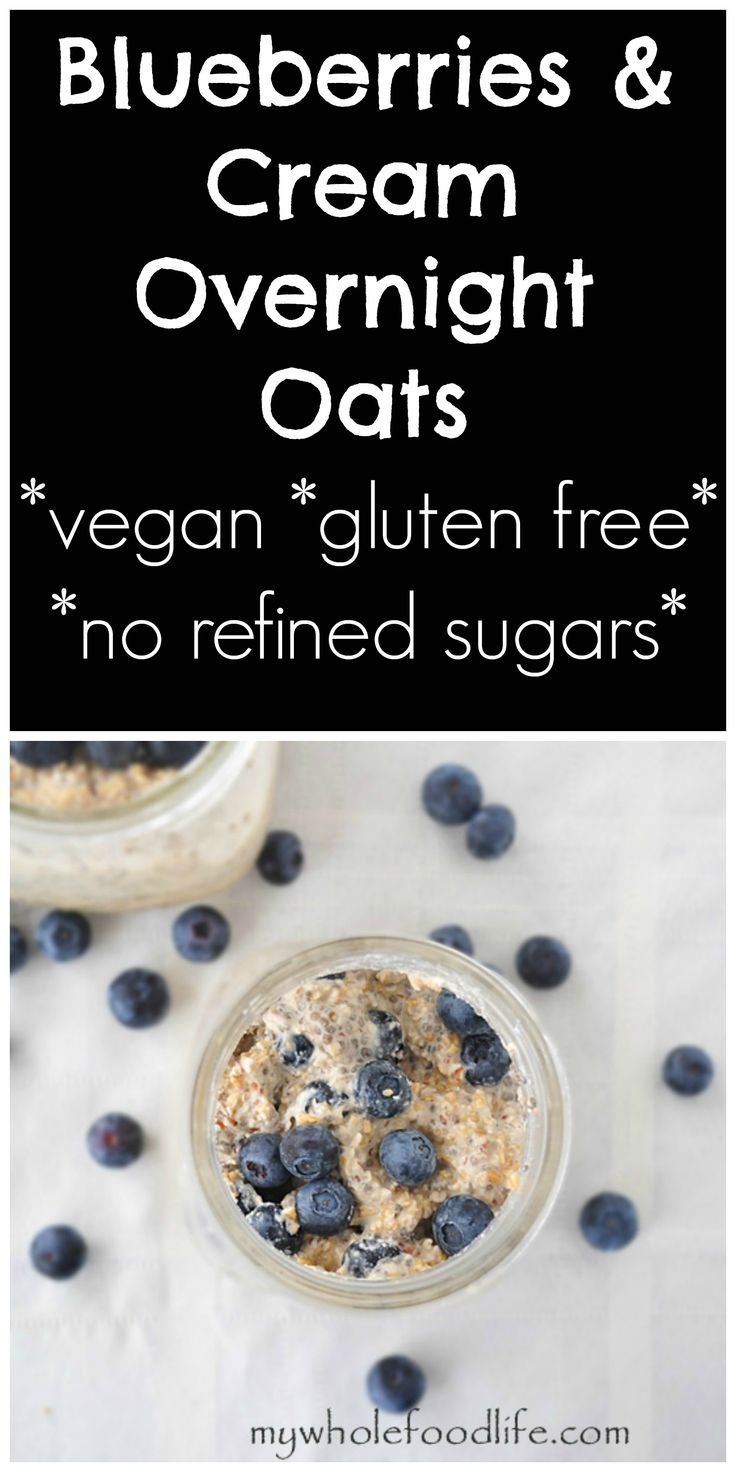 Blueberries and Cream Overnight Oats.  A simple and healthy breakfast that requires no cooking.  Make 5 at a time and have healthy breakfasts all week.  They travel well, so you can also bring them to work.  #vegan #glutenfree #oatsinajar #overnightoats
