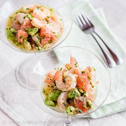 Shrimp, Avocado and Red Grapefruit - healthy appetizer with only 5 ingredients.