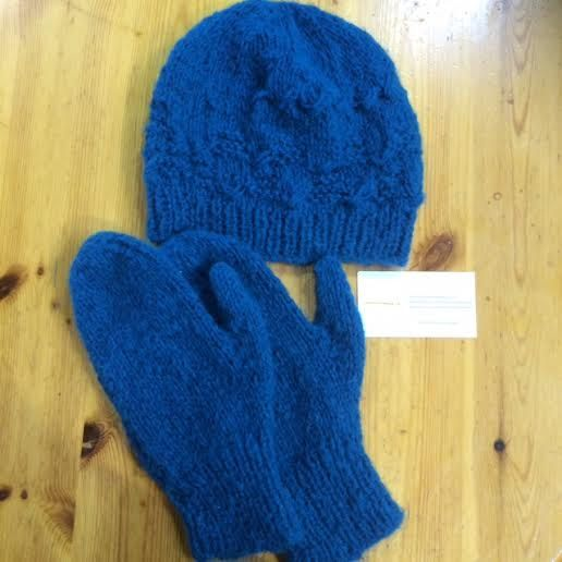 Blue Hat & Mitts, Irish Hand Knit, Soft Acrylic Wool, CraftyIrelandTeam, Adult size M/L by TheCraftyShamrock on Etsy