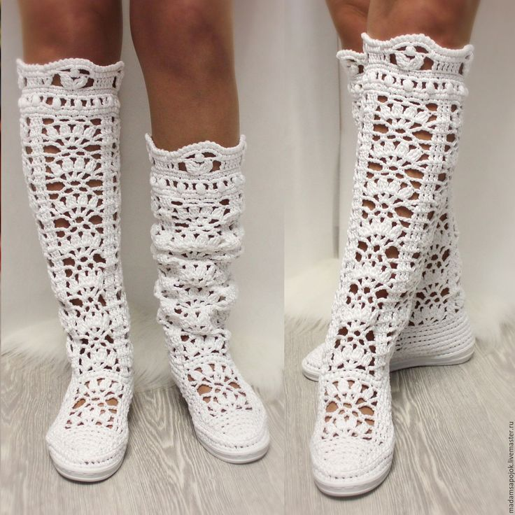 """Купить Сапоги вязаные """"Первая любовь"""" - обувь ручной работы, летняя обувь, женкая обувь"""